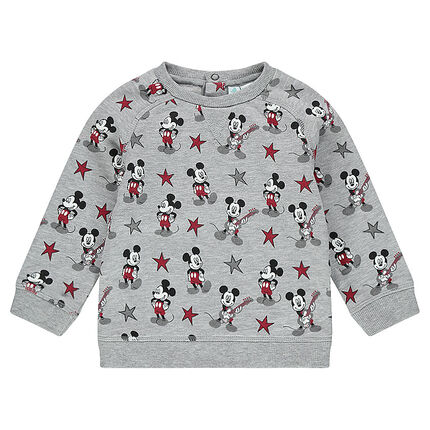 Fleece sweatshirt with an allover Mickey Mouse print