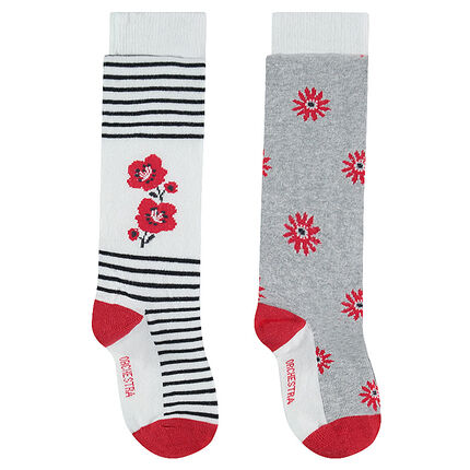 Set of 2 pairs of thick tights with flowers and jacquard stripes
