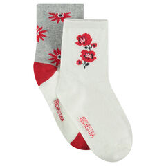 2-pair set of assorted socks with jacquard flowers