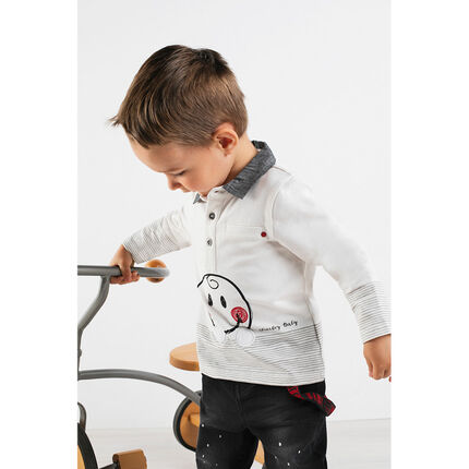 Long-sleeved polo shirt with chambray collar and ©Smiley print