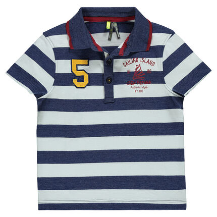 Short-sleeved, striped polo shirt with plush loop patch and print
