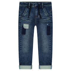 Used-effect fleece jeans with patches