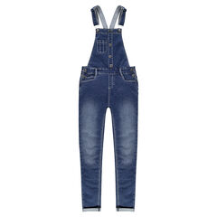 Junior - Denim-effect fleece overalls