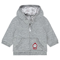 Hooded fleece jacket with robot patch badge