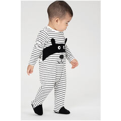 Velvet footed sleeper with allover stripes and a masked animal