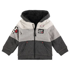 Tricolored hooded fleece jacket with ©Smiley badges