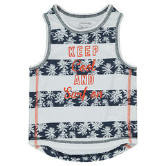 Tank with palm bands and printed message