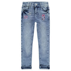 Used-effect slim fit jeans with rhinestones