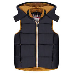 Sleeveless down jacket with hood and microfleece lining