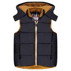 Sleeveless down jacket with hood and microfleece lining