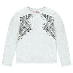 Junior - Fleece sweatshirt with ethnic print and fringes