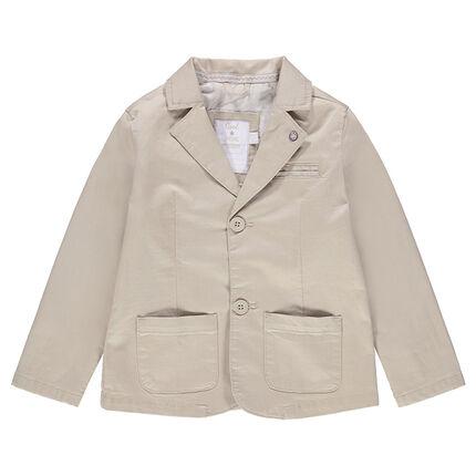 Plain-colored cotton blazer with pockets