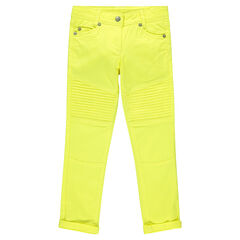Junior - Slim pants in plain-colored twill with topstitching