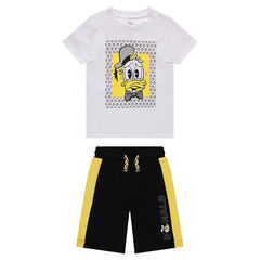 Donald Duck Print T-Shirt Set with Two-Tone Fleece Bermudas