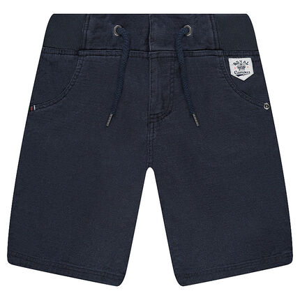 Cotton bermuda shorts with an elastic waistband and pockets