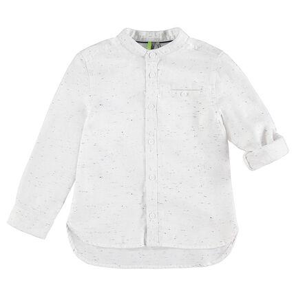 Long-sleeved slub cotton shirt with mandarin collar and pocket