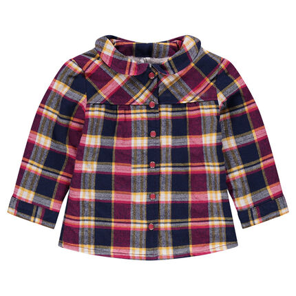 Sherpa-lined checkered flannel overshirt