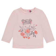 Plain-colored fleece sweatshirt with a printed doll and roses