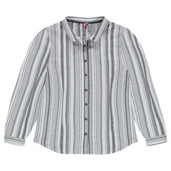 Junior - Long-sleeved shirt with allover jacquard stripes