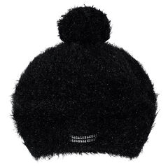 Fur-effect knit beret with pompom and rhinestones