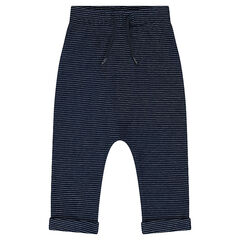 Fleece sweatpants with a jacquard motif