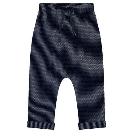 Fleece sweatpants with a jacquard motif