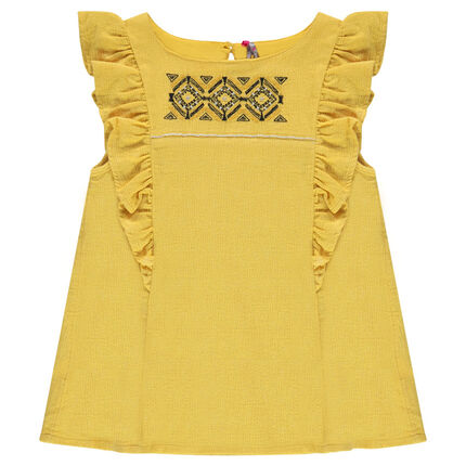 Junior - Tunic with frilled sleeves and ethnic-style embroidered details