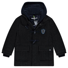 Wool cloth duffle coat with chevrons and fleece hood