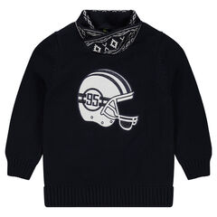 Knit sweater with helmet patch and trendy collar