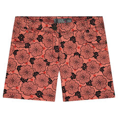 Junior - Overdyed shorts with allover printed flowers