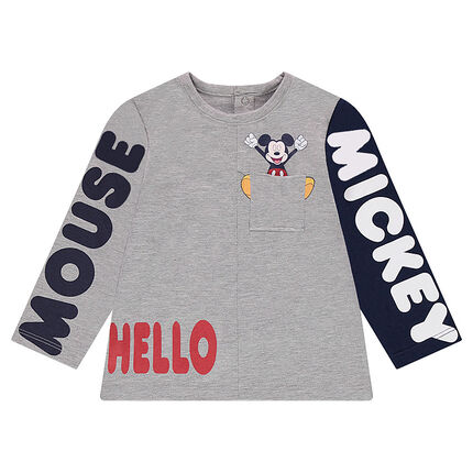Long-sleeved jersey tee-shirt with printed ©Disney Mickey Mouse messages, and pocket
