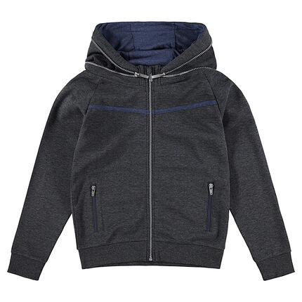 Junior - Hooded fleece jacket with a printed message in back