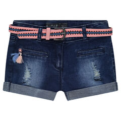 Used-effect denim shorts with a removable motifed belt
