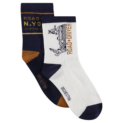 Set of 2 pairs of assorted socks with white / navy blue jacquard motifs