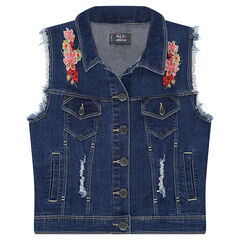 Junior - Sleeveless denim jacket with embroidered flowers