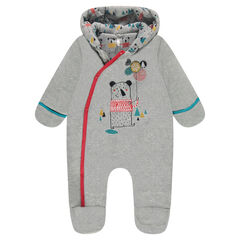 Jersey-lined velvet snowsuit with an embroidered teddy bear