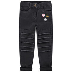 Jersey-lined slim fit jeans with an embroidered ©Smiley in back