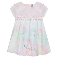 Short-sleeved dress with sublimation print and bows on the sleeves