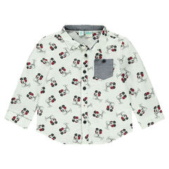Long-sleeved cheesecloth shirt with allover Disney Mickey Mouse motif