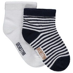 Set of 2 pairs of assorted plain-colored/striped socks