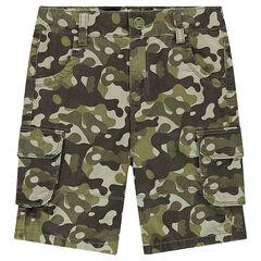 Bermuda en twill motif army avec poches à rabat