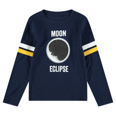 Junior - Long-sleeved jersey tee-shirt with an eclipse print