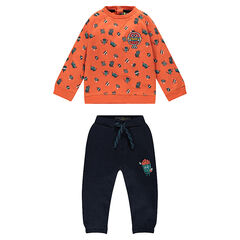 Fleece hooded sweatsuit with embroidered hamburger and pants with popcorn print