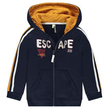 Zipped fleece hooded jacket