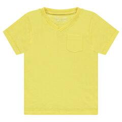 Junior - Short-sleeved, plain-colored slub tee-shirt with pocket