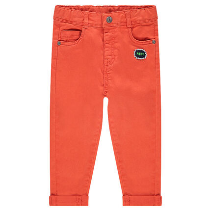 Twill pants with badge and bear-shaped pocket