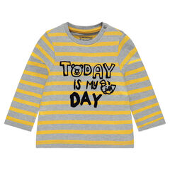 Long-sleeved striped tee-shirt with printed message