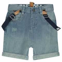 Used-effect denim bermuda shorts with removable and elasticated suspenders