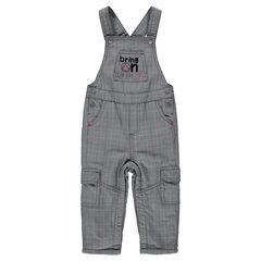 Long microfleece-lined overalls with Prince of Wales checks