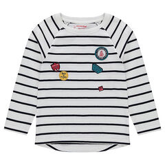 Striped long-sleeved t-shirt with patches